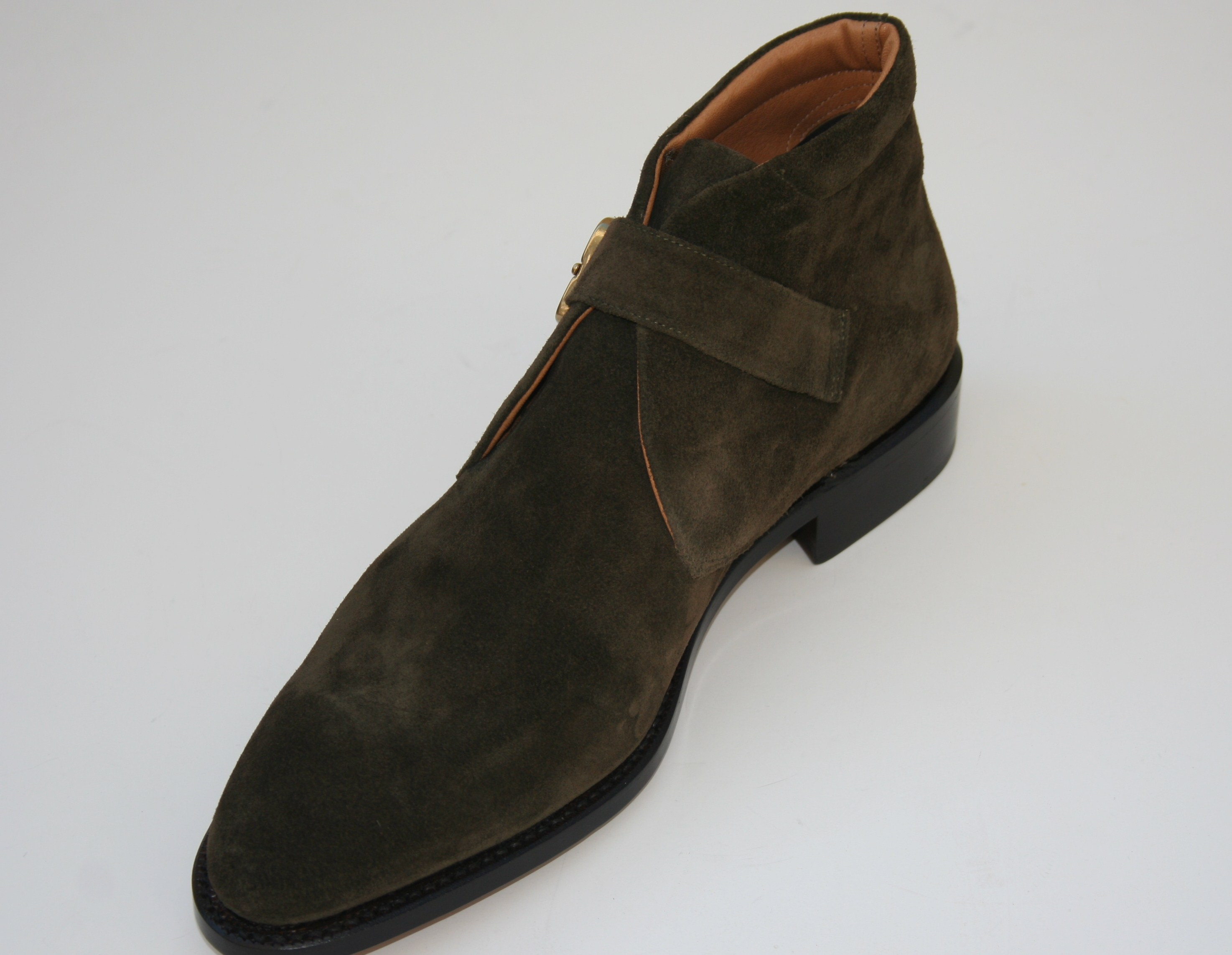 Degas in olive suede